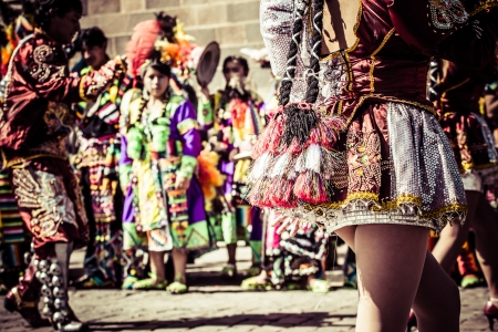 folk festival: Peruvian dancers at the parade in Cusco.