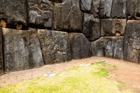 incan: View of Sacsayhuaman wall, in Cuzco, Peru.  Stock Photo