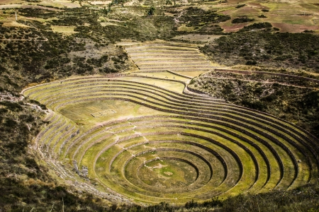 peru architecture: Peru, Moray, ancient Inca circular terraces. Probable there is the Incas laboratory of agriculture  Stock Photo