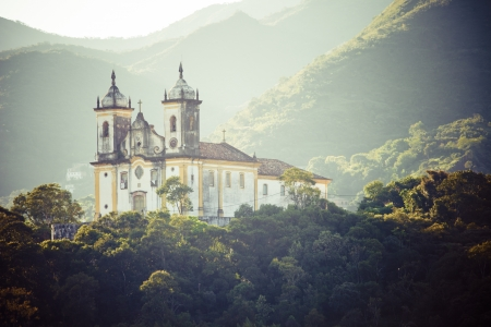 senhora: View of a church of ouro preto in minas gerais brazil Stock Photo