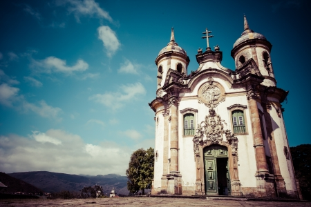 View of the Igreja de Sao Francisco de Assis of the   city of ouro preto in minas gerais brazil  Stock Photo