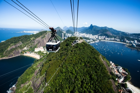 The cable car to Sugar Loaf in Rio de Janeiro Stock Photo