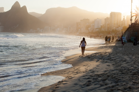 View of Ipanema Beach in the evening, Brazil  photo