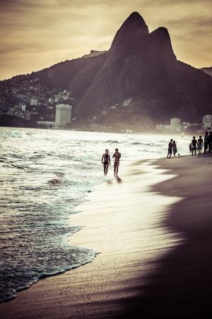 rio: View of Ipanema Beach in the evening, Brazil