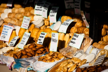 zakopane: Traditional polish smoked cheese oscypek on outdoor market in Zakopane