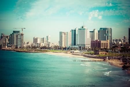 jaffa: Tel-Aviv beach panorama.Jaffa. Israel.