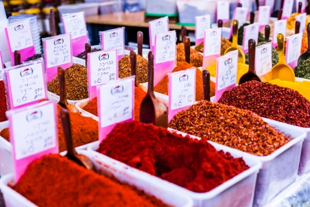 Spices on display in open market in Israel.  photo