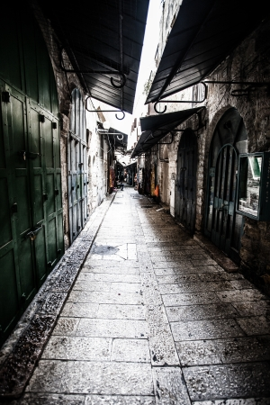 Ancient Alley in Jewish Quarter, Jerusalem, Israel. photo