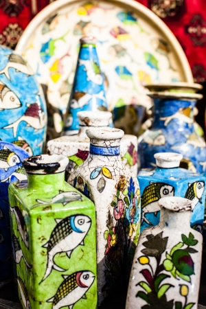 Traditional ceramic in local Israel market. photo