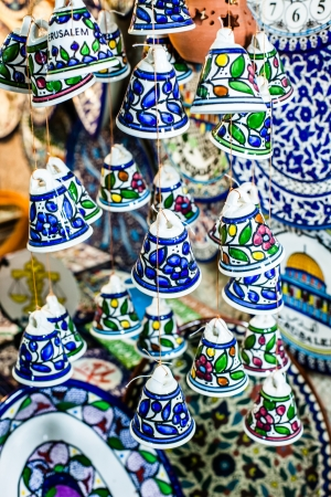 Ceramic bells as souvenir from Jerusalem, Israel. photo