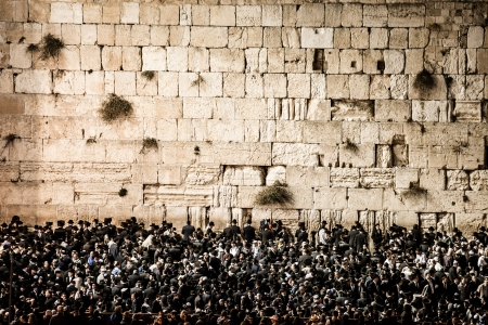 Prayers at the Western Wall, Jerusalem, Israel.