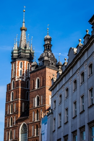 View at St. Marys Gothic Church, famous landmark in Krakow, Poland.  photo
