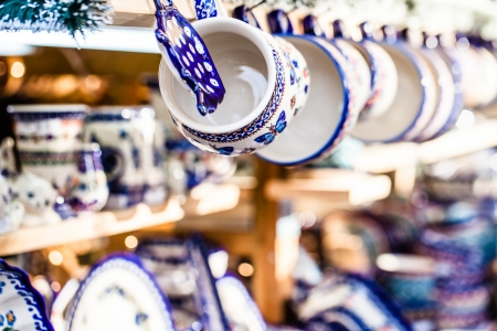 traditonal: Colorful ceramics in traditonal polish market. Stock Photo