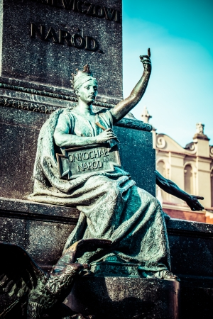 greatest: Krakow - fragments of the monument of Adam Mickiewicz.