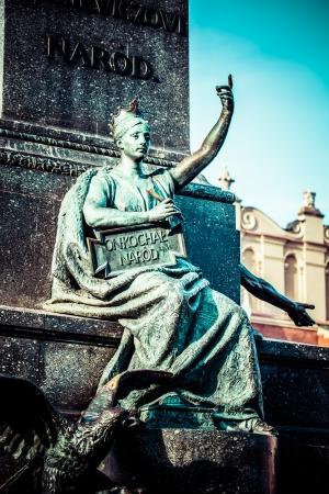 mickiewicz: Krakow - fragments of the monument of Adam Mickiewicz.