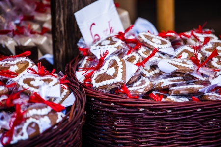 Gingerbread hanging at the christmas market in Poland photo