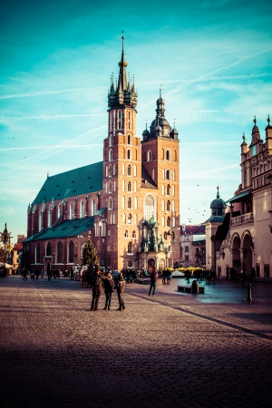 mary's: View at St. Marys Gothic Church, famous landmark in Krakow, Poland.