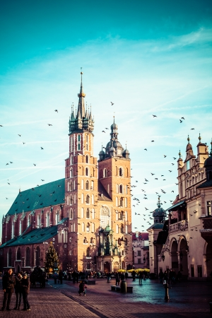 View at St. Mary's Gothic Church, famous landmark in Krakow, Poland.