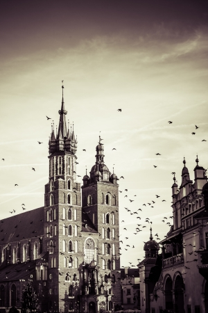 View at St. Mary's Gothic Church, famous landmark in Krakow, Poland.  photo