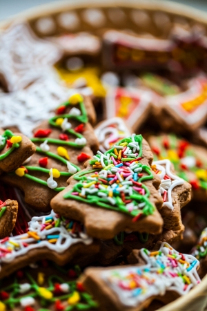 Christmas colorful home made gingerbread. photo