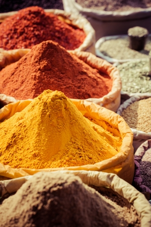 Indian colored spices at local market. photo