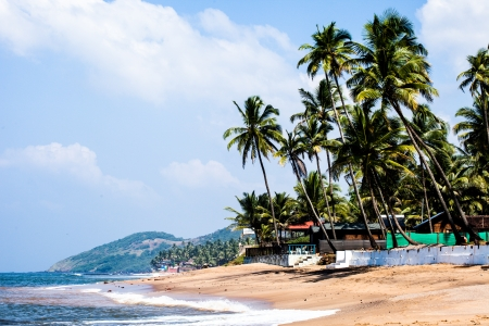 Exiting Anjuna beach panorama on low tide with white wet sand and green coconut palms, Goa, India  photo