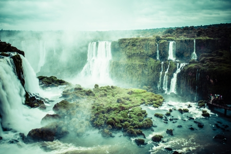 waterfall with sky: Iguassu Falls, the largest series of waterfalls of the world, view from Brazilian side