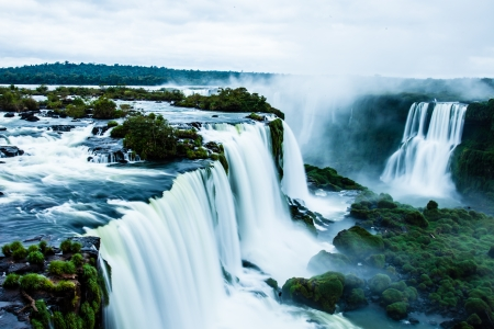 the famous: Iguassu Falls, the largest series of waterfalls of the world, view from Brazilian side