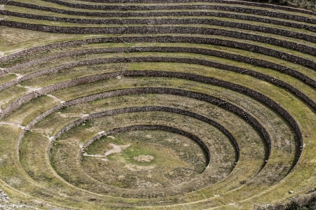 probable: Peru, Moray, ancient Inca circular terraces. Probable there is the Incas laboratory of agriculture  Stock Photo