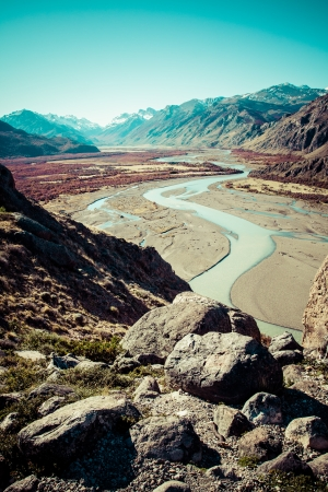 los glaciares: Bellissima natura con il Monte. Fitz Roy come si � visto nel Parco Nazionale Los Glaciares, Patagonia, Argentina Archivio Fotografico