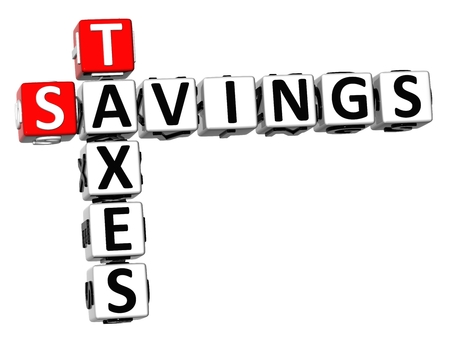 levied: 3D Savings Taxes Crossword on white background