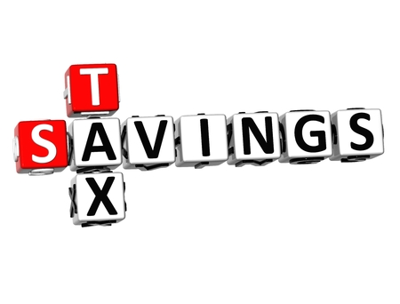 levied: 3D Savings Tax Crossword on white background  Stock Photo