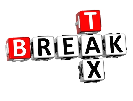 levied: 3D Break Tax Crossword on white background  Stock Photo