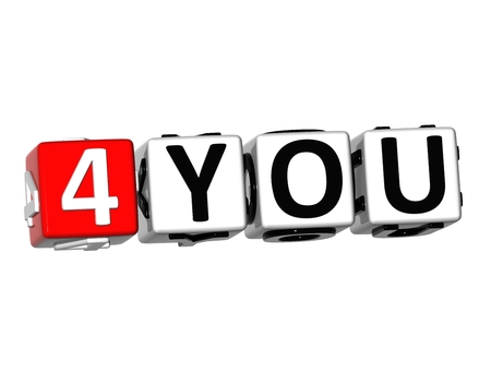 3D For You Button Click Here Block Text over white background