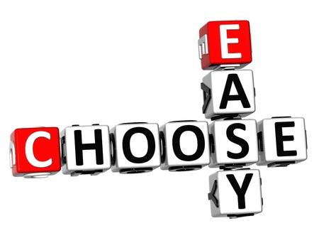 3D Easy Choose Crossword on white background  photo
