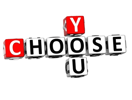 3D You Choose Crossword on white background  photo