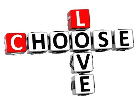 3D Love Choose Crossword on white background  photo