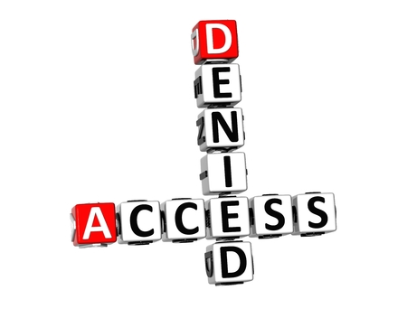 3D Denied Access Crossword on white background  photo