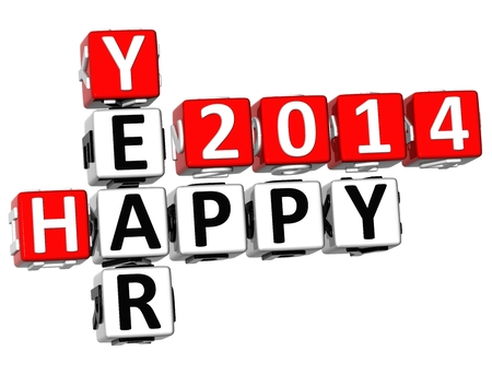3D Happy Year 2014 Crossword on white background