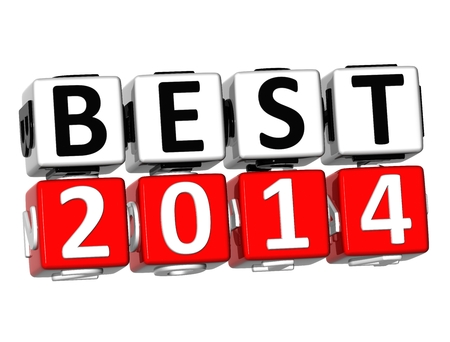 3D Best 2014 Button Click Here Block Text over white background  photo