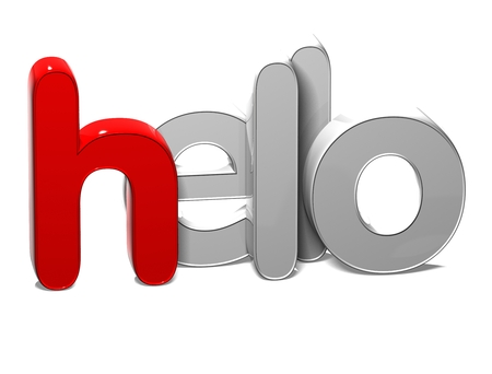 3D Word Hello on white background Stock Photo