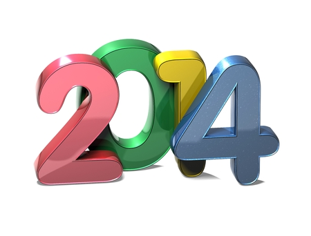 3D Year 2014  on white background photo