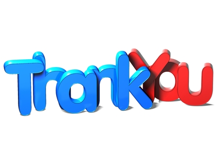 3D Word Thank You on white background photo