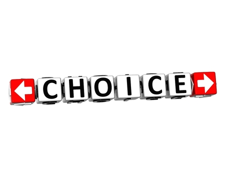 3D Choice Button Click Here Block Text over white background  Stock Photo