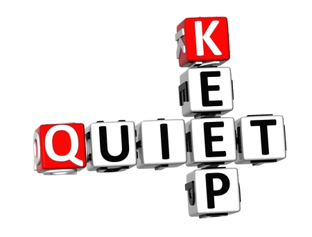 discretion: 3D Keep Quiet Crossword on white background
