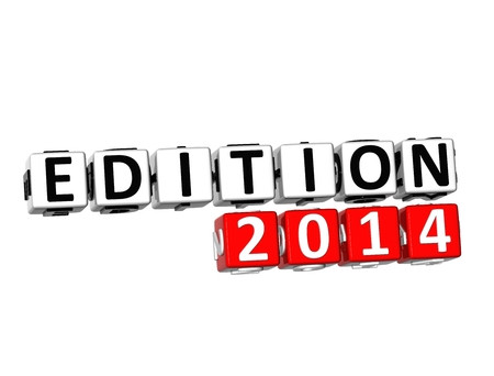 3D Edition 2014 Button Click Here Block Text over white background  photo