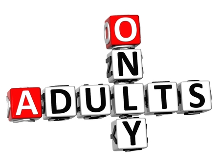 3D Only Adults Crossword on white background