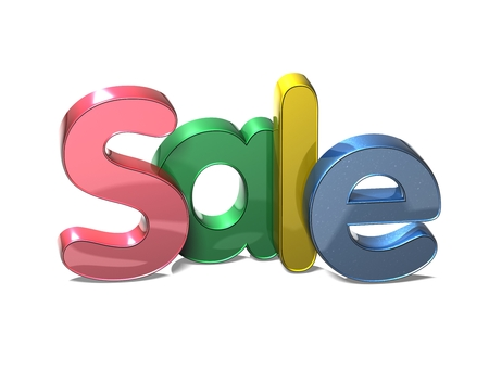 3D Word Sale on white background Stock Photo