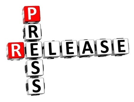 3D Press Release Crossword on white background Stock Photo