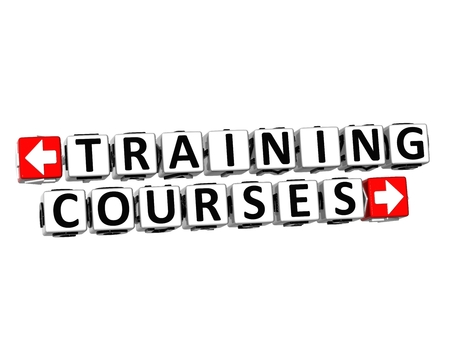 3D Training Courses Button Click Here Block Text over white background